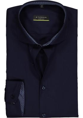 Eterna, Super Slim Fit Stretch overhemd, donkerblauw (contrast)