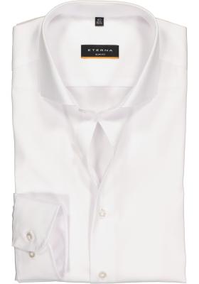 Eterna Slim Fit overhemd, super lange arm, niet doorschijnend wit twill