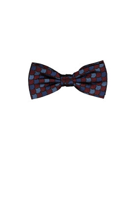 Michaelis strik, bordeaux-blauw dessin strik zijde