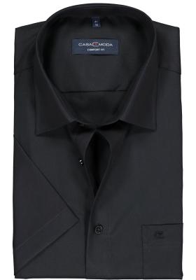 Casa Moda Comfort Fit overhemd, korte mouw, zwart