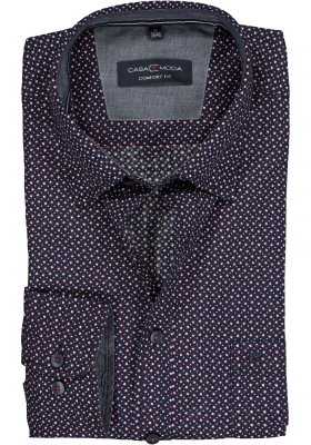 Casa Moda Sport Comfort Fit overhemd, blauw-rood-wit dessin (contrast)