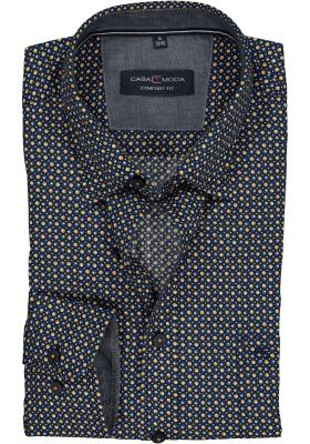 Casa Moda Sport Comfort Fit overhemd, blauw-geel-wit dessin (contrast)