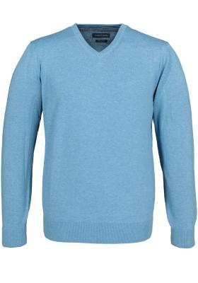 Casa Moda heren trui katoen, V-hals, lichtblauw