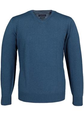 Casa Moda heren trui katoen, V-hals, petrol blauw