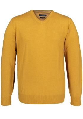 Casa Moda heren trui katoen, V-hals, oker geel