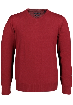 Casa Moda heren trui katoen, V-hals, donker rood