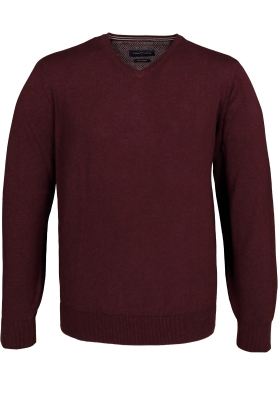 Casa Moda heren trui katoen, V-hals, bordeaux rood