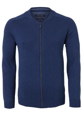 Casa Moda heren vest katoen, jeans blauw (met rits)