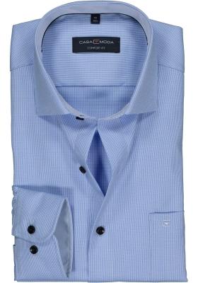 CASA MODA comfort fit overhemd, lichtblauw met wit structuur mini dessin (contrast)