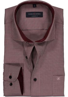 Casa Moda Comfort Fit overhemd, rood met blauw en wit structuur dessin (contrast)