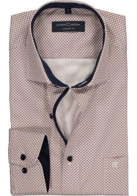 Casa Moda Comfort Fit overhemd, rood met blauw en wit dessin (contrast)