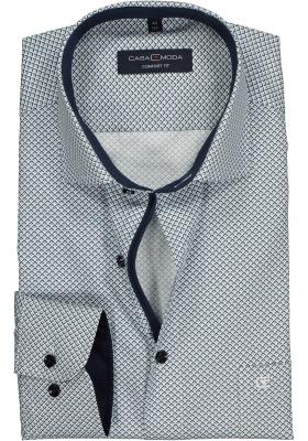 Casa Moda Comfort Fit overhemd, blauw en wit dessin (contrast)