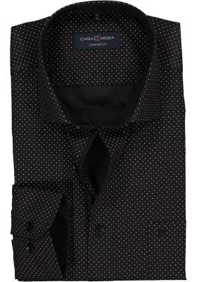Casa Moda Comfort Fit overhemd, zwart gestipt (contrast)