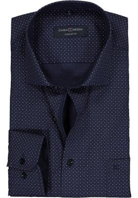 Casa Moda Comfort Fit overhemd, blauw gestipt (contrast)