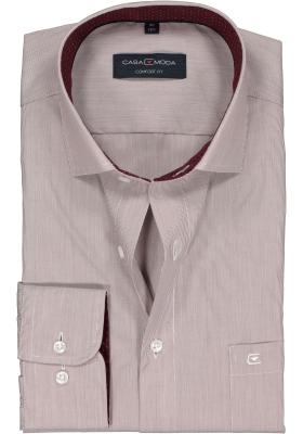Casa Moda Comfort Fit overhemd, bordeaux rood gestreept (gestipt contrast)