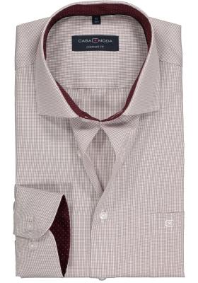 Casa Moda Comfort Fit overhemd, bordeaux rood geruit (gestipt contrast)