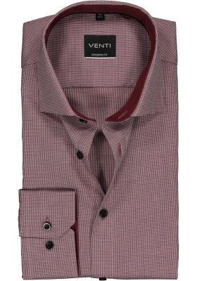 Venti Modern Fit overhemd, bordeaux rood dessin structuur (contrast)