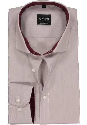 Venti Modern Fit overhemd, bordeaux rood gestreept (contrast)