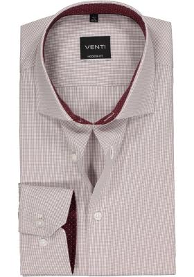 Venti Modern Fit overhemd, bordeaux rood geruit (contrast)