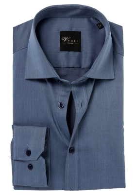 Venti Modern Fit overhemd, mouwlengte 72cm, grijsblauw twill