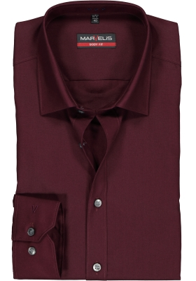 MARVELIS Body Fit overhemd, bordeaux rood