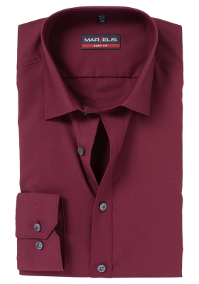 MARVELIS Body Fit overhemd, bordeaux rood