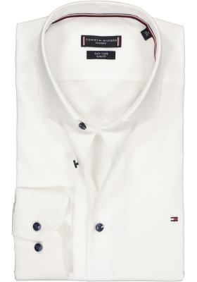 Tommy Hilfiger stretch Classic Slim Fit overhemd, wit met blauwe knoopjes