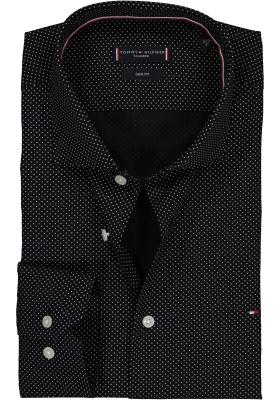 Tommy Hilfiger Slim Fit overhemd, zwart-wit gestipt