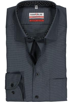MARVELIS Modern Fit overhemd, zwart-grijs structuur dessin (contrast)