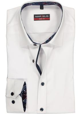 MARVELIS Body Fit overhemd, wit (dessin contrast)