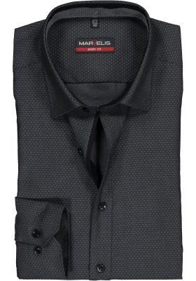 MARVELIS Body Fit overhemd, antraciet structuur (contrast)