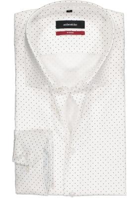 Seidensticker Modern Fit overhemd, wit met donkerblauw gestipt structuur