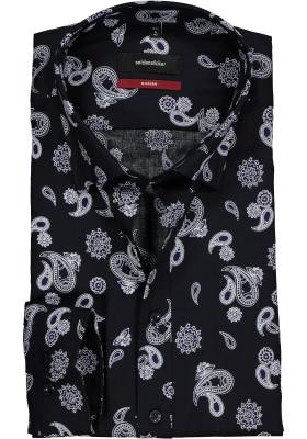 Seidensticker Modern Fit overhemd, blauw-paars paisley dessin twill