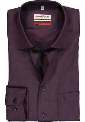 MARVELIS Modern Fit overhemd, bordeaux rood mini dessin (contrast)
