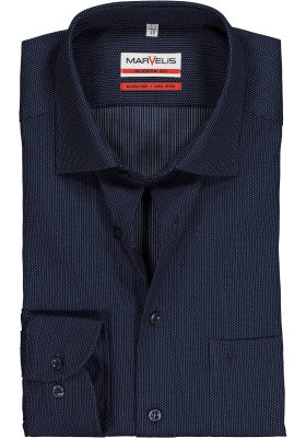 MARVELIS Modern Fit overhemd, blauw mini structuur dessin