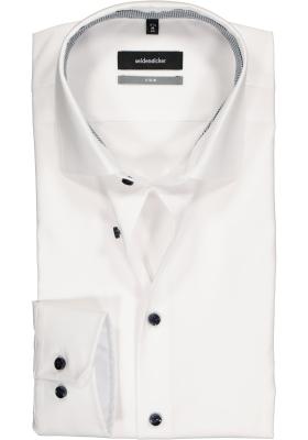 Seidensticker X-Slim overhemd, wit (geruit contrast)