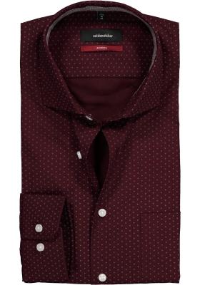 Seidensticker Modern Fit overhemd, bordeaux rood met wit dessin (contrast)