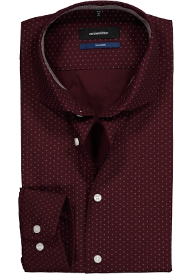 Seidensticker Tailored Fit, bordeaux rood met wit dessin (contrast)