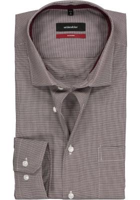 Seidensticker Modern Fit overhemd, bordeaux rood met wit mini pied de poule (contrast)