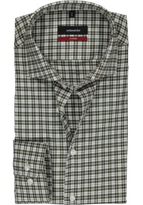 Seidensticker Modern Fit overhemd, olijfgroen met wit geruit