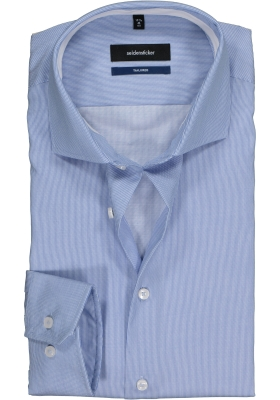 Seidensticker Tailored Fit, blauw-wit gestreept twill (contrast)