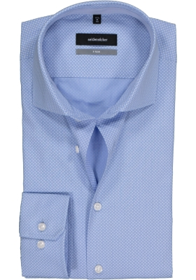 Seidensticker X-Slim overhemd, lichtblauw-wit dessin (contrast)