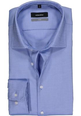 Seidensticker X-Slim overhemd, blauw-wit structuur