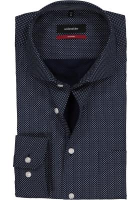 Seidensticker Modern Fit overhemd, donkerblauw-wit dessin (contrast)