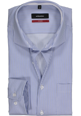 Seidensticker Modern Fit overhemd, blauw-wit gestreept twill (contrast)