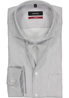 Seidensticker Modern Fit overhemd, blauw-wit gestreept twill