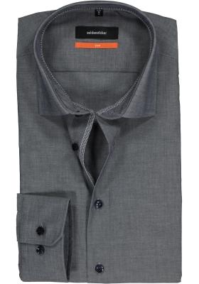 Seidensticker Slim Fit overhemd, donkerblauw (geruit contrast)