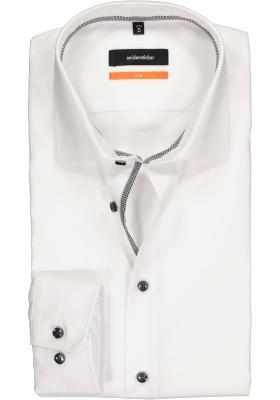 Seidensticker Slim Fit overhemd, wit (geruit contrast)