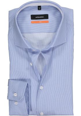 Seidensticker Slim Fit overhemd, blauw-wit gestreept twill (contrast)