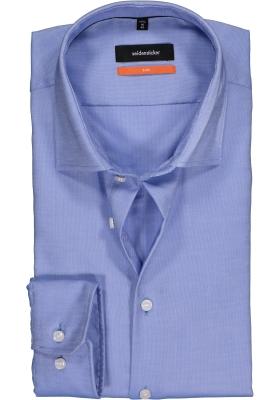 Seidensticker Slim Fit overhemd, blauw-wit structuur